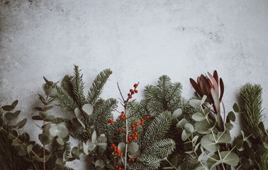 Festive holiday foliage flatlay background