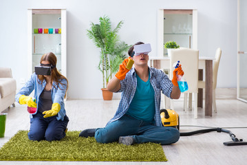 Pair cleaning house with virtual glasses