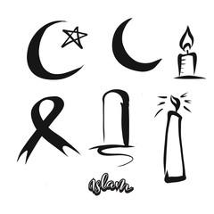 Set of hand-drawn Islam symbols