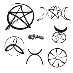 Set of hand-drawn Wicca symbols