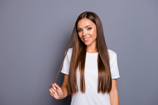 Portrait of brown-haired gorgeous attractive nice cute smiling c
