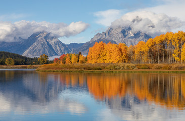 Scenic Reflection Landscape of the Tetons in Autumn