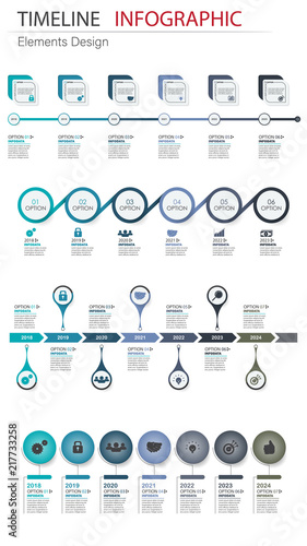 Vector Abstract Element Infographics Set Timeline Design For Business Finance Template Layout Workflow