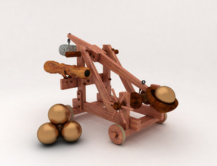 Catapult with gold cannonballs 3d Render