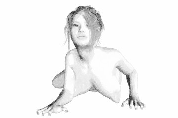 Disegno donna bianco e nero matita mano libera Sketch of a woman with no clothes from behind
