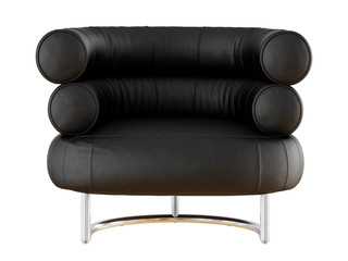 Soft black leather chair with backrest from cylinders 3d rendering