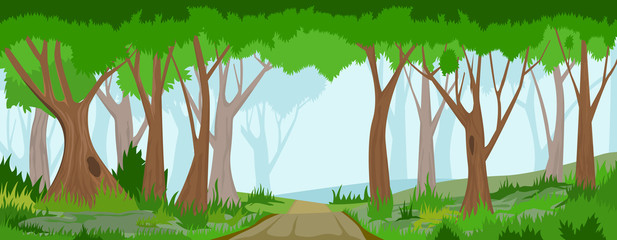 Summer forest with road