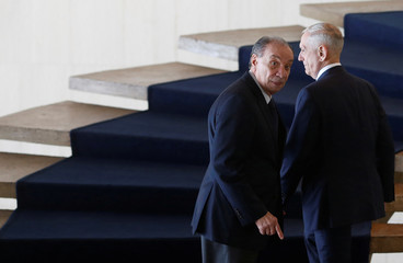 U.S. Secretary of Defence Mattis and Brazilian Foreign Minister Nunes walk before a meeting at the Itamaraty Palace in Brasilia