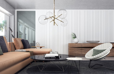 Modern living room interior design 3D Rendering