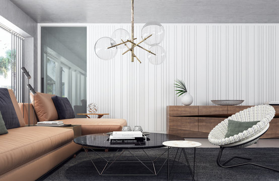 Modern living room interior design 3D Rendering
