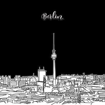 Berlin skyline, outline