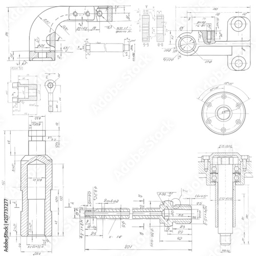 Technical Drawing Background Mechanical Engineering Drawing Vector