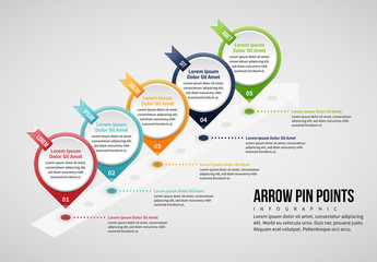 Arrow Pin Points Infographic Layout