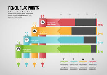 Pencil Flag Points Infographic Layout
