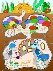 Interior and family life of ants in an anthill color for children cartoon raster illustration