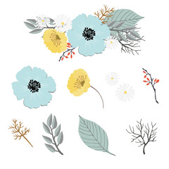 set of colored floral elements