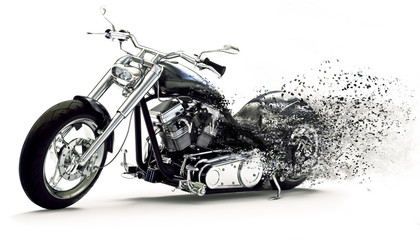 Side view of a Custom black motorcycle with dispersion effects on a white background. 3d rendering Wall mural