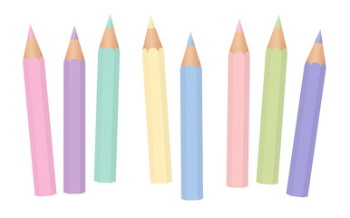 Pastel colors. Soft colored baby crayons. Short pencils loosely arranged. Isolated vector illustration on white background.