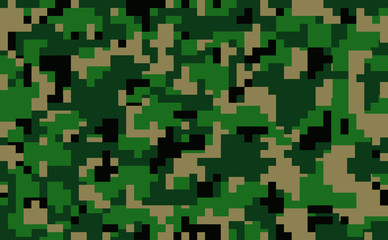 Digital pixel green camouflage seamless pattern for your design. Clothing military style. Vector Texture