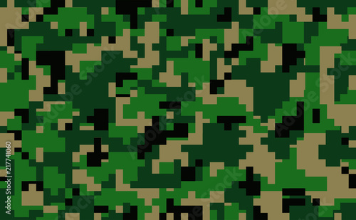 Digital pixel green camouflage seamless pattern for your