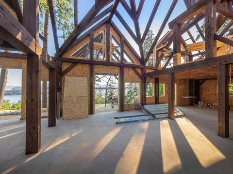 New house interior post and beam construction