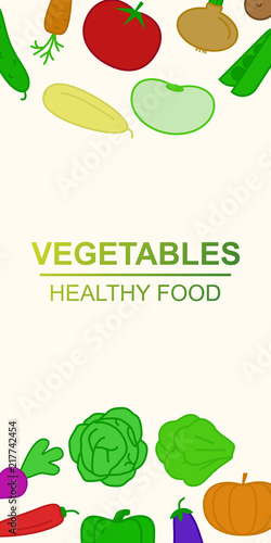 vegetables vertical banner for organic food market, farm fresh sale