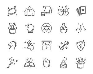 set of fantasy vector icons, such as dragon, unicorn, treasure and more