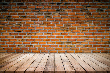 Old wood plank with abstract old brick wall background for product display