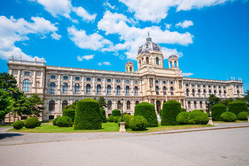 View of famous Natural History Museum with park on Maria Theresien Platz in Vienna, Austria