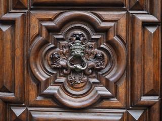 Wooden door, detail. Handle.