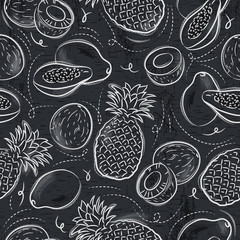 Seamless Patterns with papaya, coconut and pineapple on grunge blackboard.Ideal for printing onto fabric and paper or scrap booking.