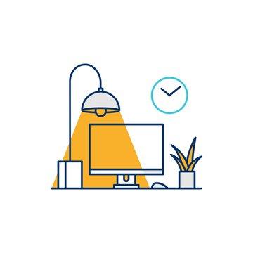 working desk computer setup illustrative icon vector illustration line outline monoline