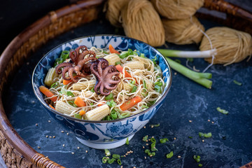 baby squid on top of oriental bowl of noodles and vegetables