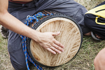 Drum player hands in action