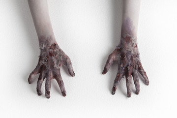 terrible ghost zombie hands isolated on white