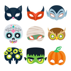Halloween party masks vector illustration.