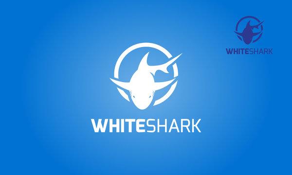 White Shark Vector Logo Template. Modern professional shark Vector logo illustration.