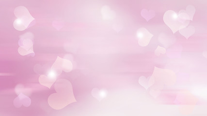 Pink blurred background with hearts