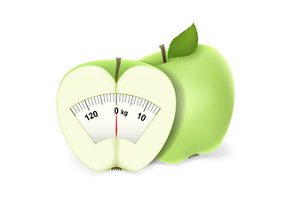 one and half green apple with a scale of weights isolated on the white background, horizontal vector illustration