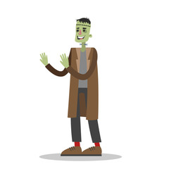 Handsome man in a frankenstein costume