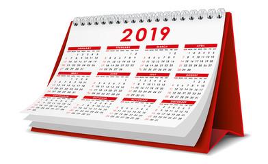 Desktop Calendar 2019 in red color