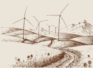 Windmills on hills landscape