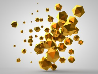 3D illustration of a geometric figure, cubes and polyhedra floating in the air in zero gravity. Abstract, 3D rendering on white background, isolated