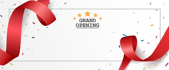 Grand opening card design with red ribbon and colorful confetti Wall mural