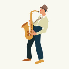 Saxophonist. Jazz or blues musician, the man plays a saxophone. Element for flyer, posters of festival jazz music, jazz band performances.