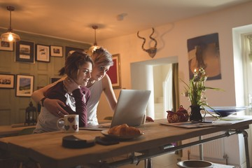 Lesbian couple using laptop in living room