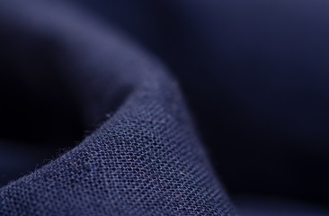 Blue fabric material texture macro blur background