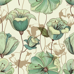 Floral seamless pattern. Lily design