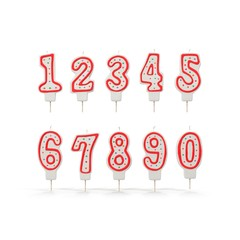 Birthday Number Candles Set on white. 3D illustration