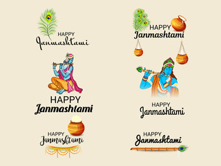 Beautiful abstract, banner or poster for Happy Janmashtami.